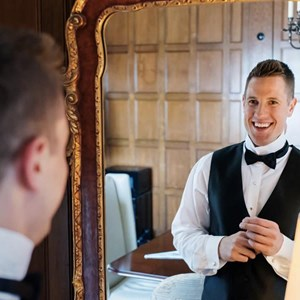 groom smiling