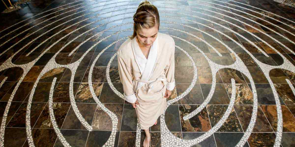 Labyrinth Ritual, evensong spa, heidel house resort & spa, green lake wi, wisconsin spa