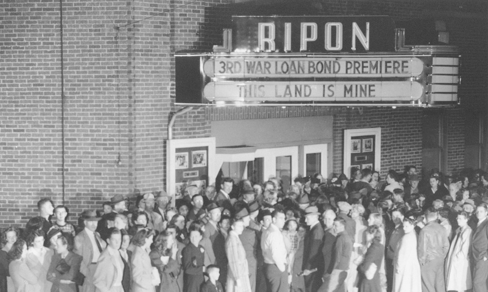 black and white image of movie theater