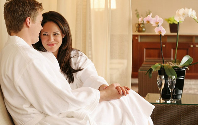 Couple relaxing at a spa