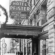 Vintage Image of the Pfister Hotel Entrance