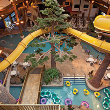 Overlooking the indoor waterpark at the Timber Ridge Lodge