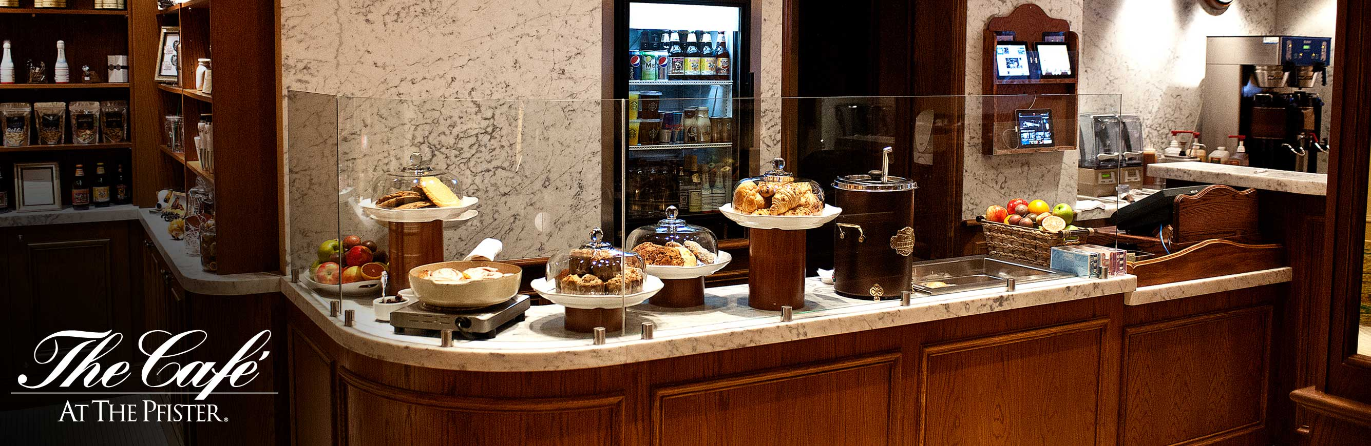 Counter with baked goods at the Cafe Pfister