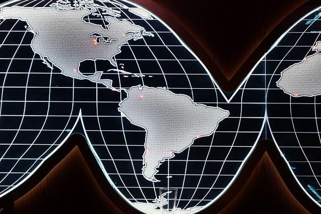 Balck and White Globe Map